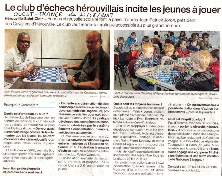 Article dans Ouest France du 21 août 2017